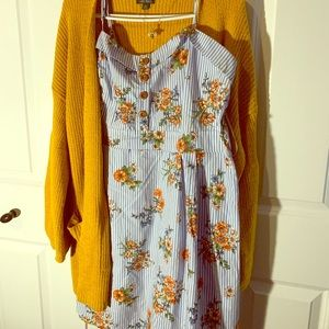 Floral Dress w/ Yellow Cardigan & Bee necklace